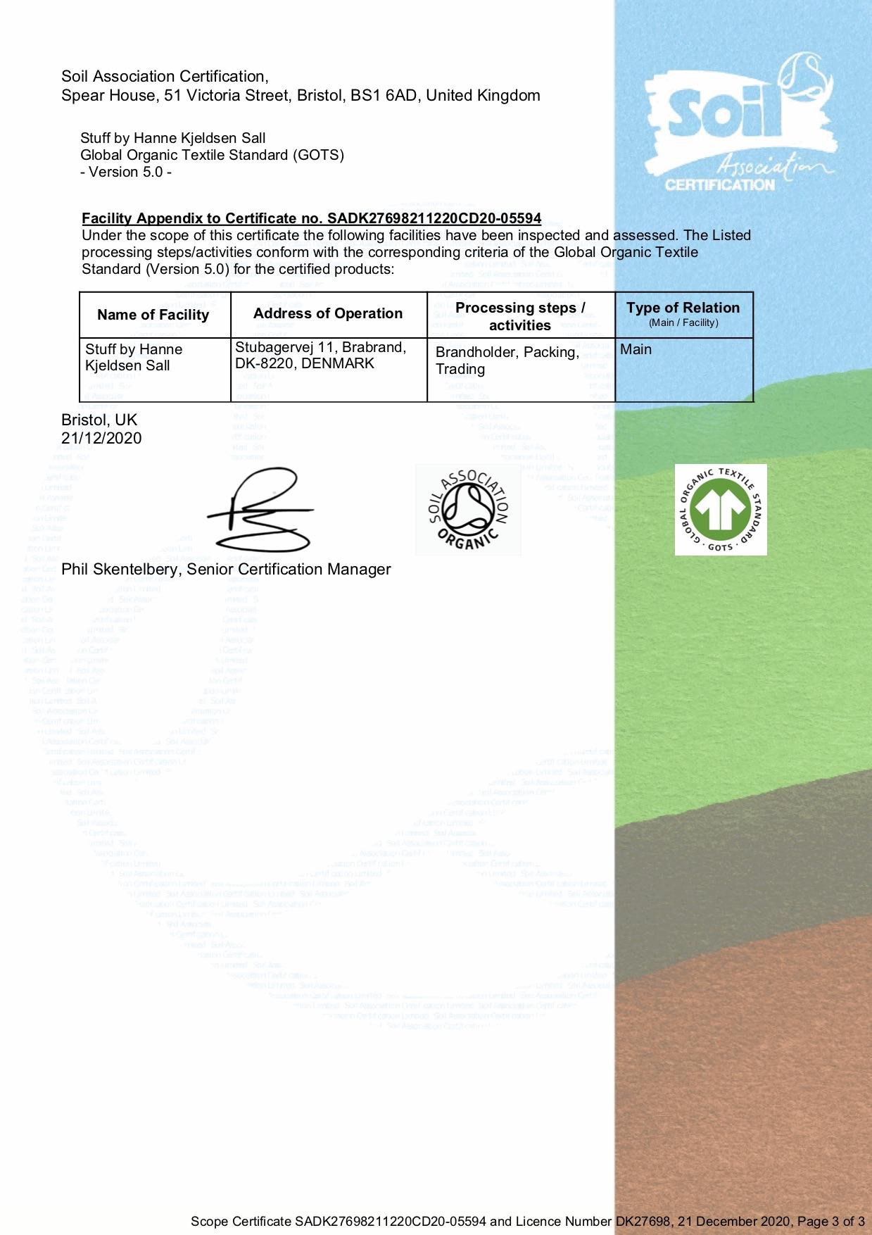 GOTS Licens DK27698 TrueStuff Soil Association